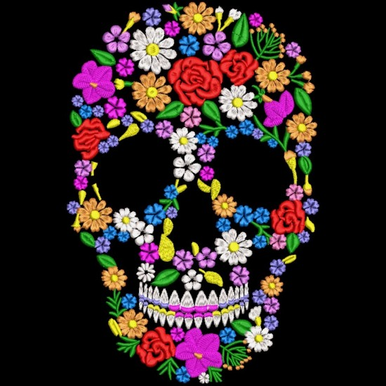 Floral Skull Embroidery Pattern