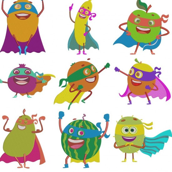 Fruits Super Heros Embroidery Designs