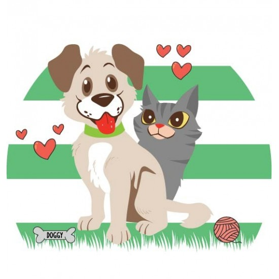 Puppy With Kitten Vector Only