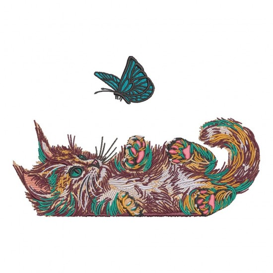 Colorful Cat Is Playing With A Butterfly