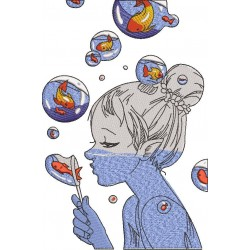 Girl Making Bubble Of Fishes