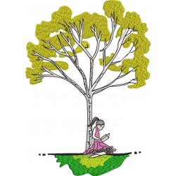 Girl Reading Book Sitting by Tree